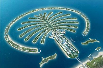 Letecký pohled na jediný komplex umělých ostrovů Palm Islands, který je vidět i z kosmu, Zdroj: nation-branding.info