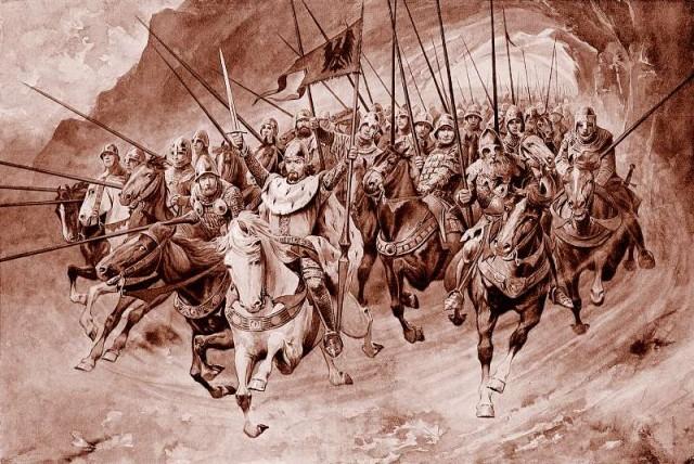 Blaničtí rytíři vyjíždějí po boku sv. Václava. Zdroj: wikimedia. org