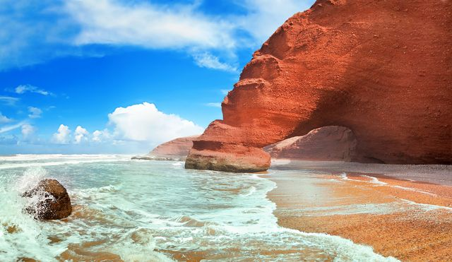 Maroko, pláž Legzira